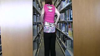 Bella Jaimes At The College Library Flashing