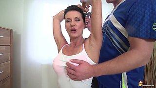 Skinny big boob sporty mom gets rough fucked by her gym coach