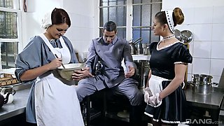 Sexy governess Cathy Heaven and her assistant polish dick before a steamy 3some sex
