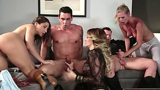 Sexy women are with some men, receiving their hard dicks