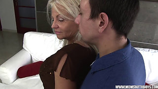 Busty Blonde Stepmom Blackmailed For Smoking By Stepson