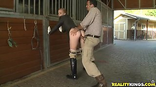 Beautiful girl Ryann in hot jockey uniform getting her asshole licked up by her fucker friend Voodoo outdoors.