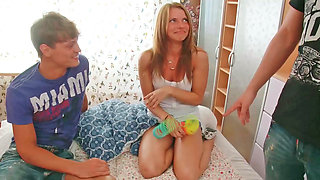 Teen girl lets 2 guys enter her at the same time