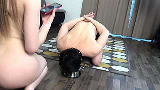 FRENCH PRINCESS HUMILIATE HER TOILET SLAVE FOR TWITTER FANS!