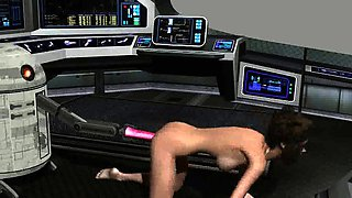 3D cartoon brunette babe getting toyed by R2D2
