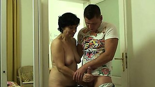 Cockriding granny and son in law getting busted