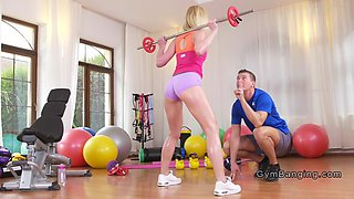 Russian Milf bangs young fitness coach