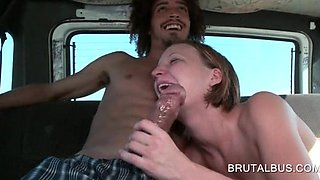 Teeny giving oral sex in the brutal bus