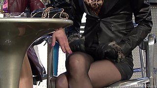 Klarisa Leone and her friend know how to share a fat cock