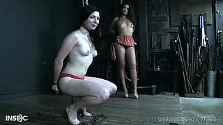 Curly haired teen Keira Croft tied up and has her feet abused