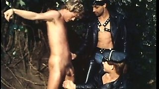 A naked smooth blond sex-slave gets pounded by two buddies.