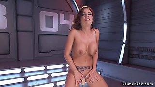 Hot ass busty redhead bangs machine