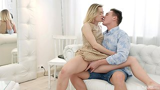 Blonde darling gets fucked and receives cum on face - Via Lasciva