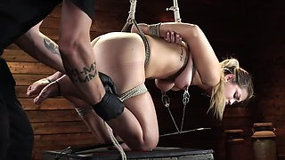 Lovely blonde experienced tight shibari bondage for the first time