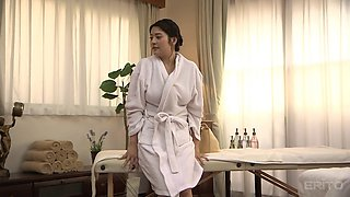 Curvy oiled up Asian milf fucked hard by her masseur