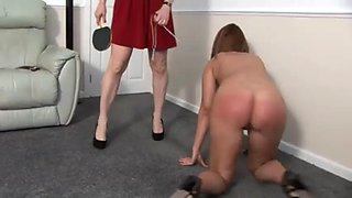 Mistress undresses and spanks her maid
