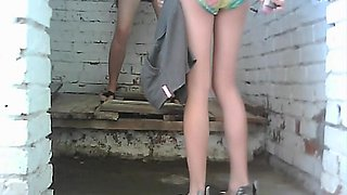 Sexy babe is watching at how her sister is peeing