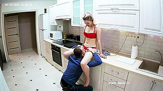 Euro Mademoiselle in Red Lingerie Has Kitchen Oral Sex