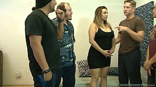 Chubby huge bottomed harlot Audrey Blue takes part in bisexual orgy