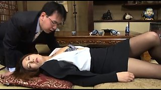 Sleeping Oriental babe gets her hairy twat licked and fucked