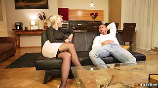 Mature blonde bombshel in a miniskirt pussy pounded from behind