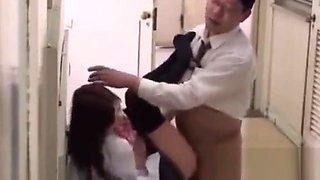 Japanese schoolgirl fucked by teacher in the corridor bench school