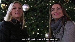 Sisters Monika M. and Simonne Style fuck strangers for Christmas cash