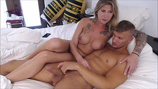 Stunning tattooed shemale and her maler lover on cam