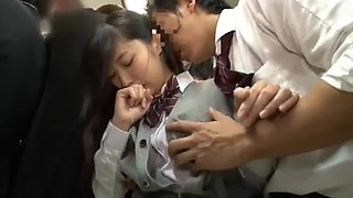 Innocent schoolgirl immediately molested in the train without notice 2