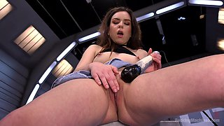 Horny alone girl Juliette March strips and gets her holes fucked
