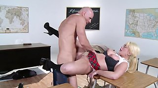 Bald bruiser actively nails his first love in empty classroom
