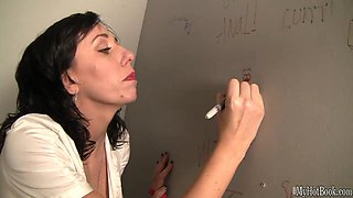 While the brunette waitress Alia Janine sits on the throne during her break,
