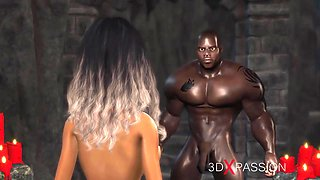 A horny bride gets fucked by a big black cock in the dungeon