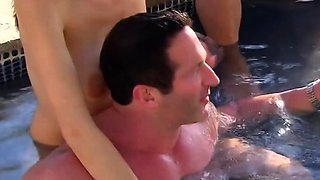 A wild swinger pool party with oral sex