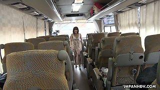 Pretty Japanese adventurous gal Mitsuka Koizumi gives a blowjob in the bus