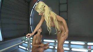 hot lesbian fun among hotties in a fucking machines scene