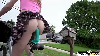 cute paper girl alex blake rides dildo-bike and bbc