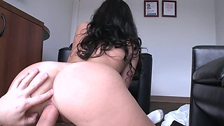 Beautiful brunette pornstar with a large booty rides a fine cock