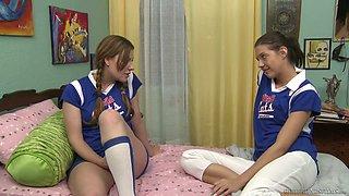 Naughty cheerleader Sadie Holmes is happy to eat moist juicy pussy