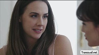 Chanel Preston spreads her legs and let TBabe Lena Kelly bangs her pussy