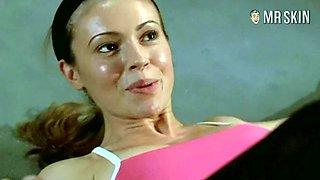 Fit nude celebrity star Alyssa Milano flashing her legendary tits