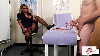 CFNM voyeur nurse instructing jerkoff