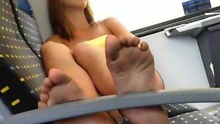 Teen dirty feet secretly taped