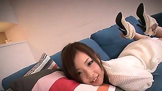 Amateur Marin Omi enjoys two guys in harsh threesome