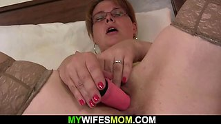 Old busty mom in pantyhoses stuffed with cock from behind