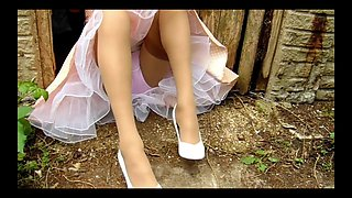 Summer dress nylon stockings at the farm