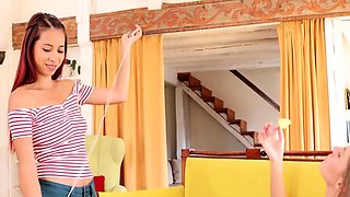Czech Step Sisters Evelin, Paula Lee Compete For Cock