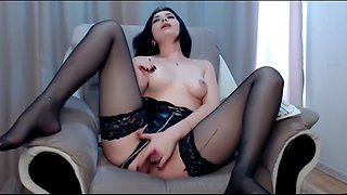 Sweety milf twerking her big white ass in black stockings