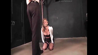 Blonde Bitch Boss Kidnapped Fucked & Strangled in Dungeon