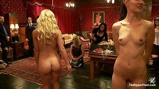 Making an Upper Floor Slave and Monster Cock Fucks Hot Blonde Slut